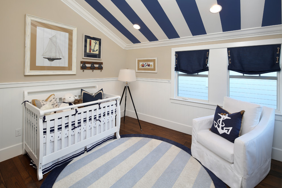 nautical-window-treatments-in-Nursery-Beach-with-nautical-armchair-10 20+ Hottest Curtain Designs for 2019