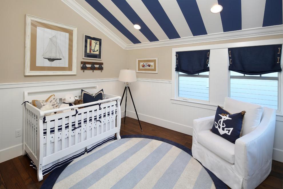 nautical-window-treatments-in-Nursery-Beach-with-nautical-armchair-10 20+ Hottest Curtain Design Ideas for 2021