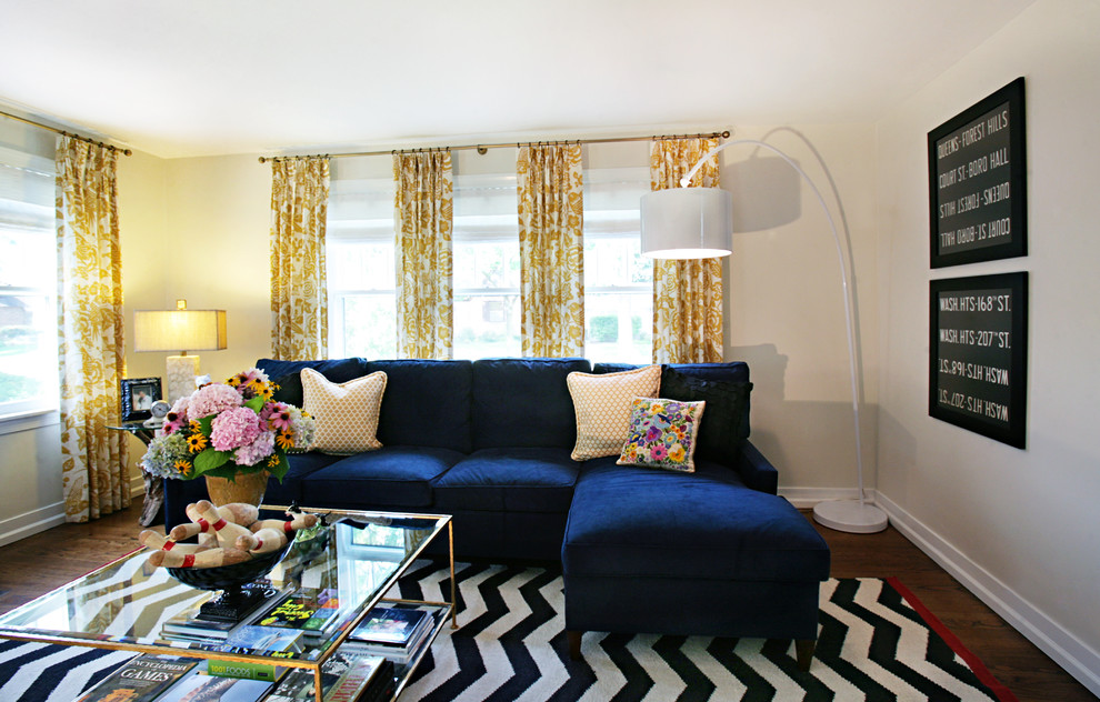 navy-blue-curtains-home-in-Living-Room-Eclectic-with-chevron-arc-lamp-4 20+ Hottest Curtain Design Ideas for 2020