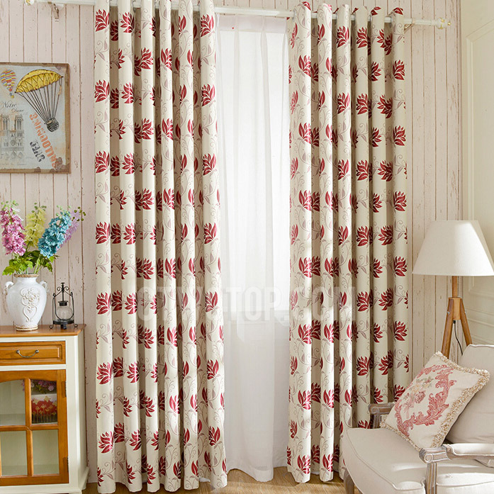 pattern-curtains-geometric-pattern-curtains-Thick-Polyester-Leaf-Pattern-Wine-Color-Blackout-Thermal-Curtains-simple 20+ Hottest Curtain Design Ideas for 2020