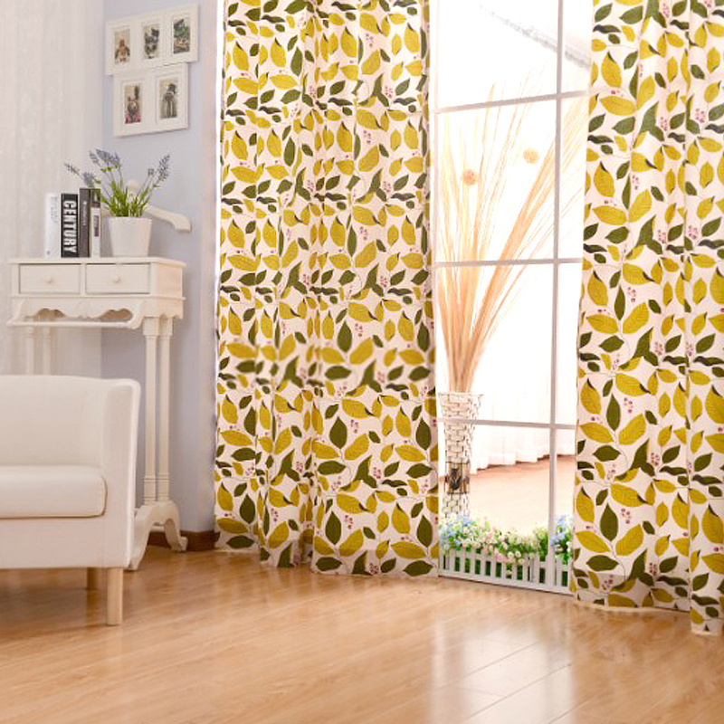 pattern-curtains-geometric-pattern-curtains-Yellow-and-green-Cotton-Living-Room-Leaf-Pattern-Curtains 20+ Hottest Curtain Design Ideas for 2020