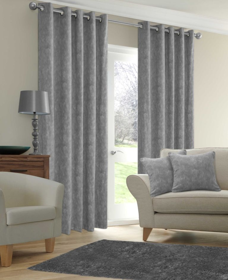 stylish-ringtop-eyelet-fully-lined-curtains-plain-cotton-fabric-silver-grey-colour-size-90-wide-x-90-drop-8204-p 20+ Hottest Curtain Design Ideas for 2020