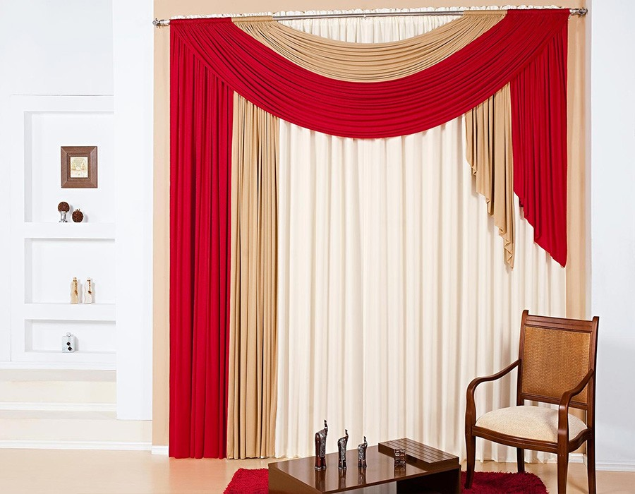 white-beige-and-red-curtains-modern-living-room-curtain-designs 20+ Hottest Curtain Designs for 2019