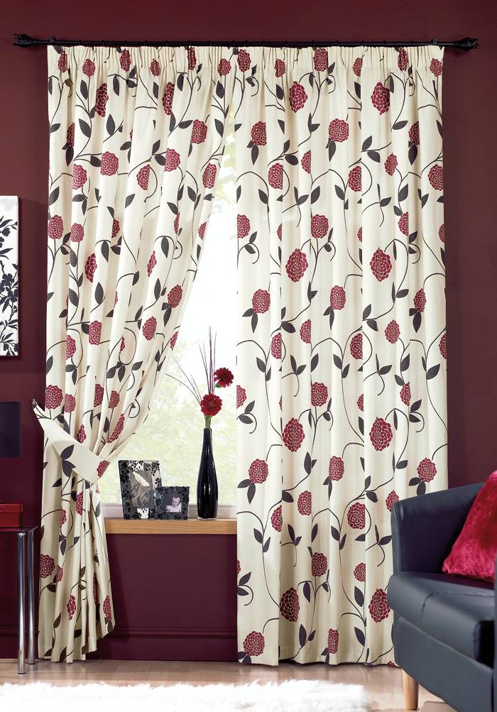 white-curtains-with-red-flowers 20+ Hottest Curtain Designs for 2018