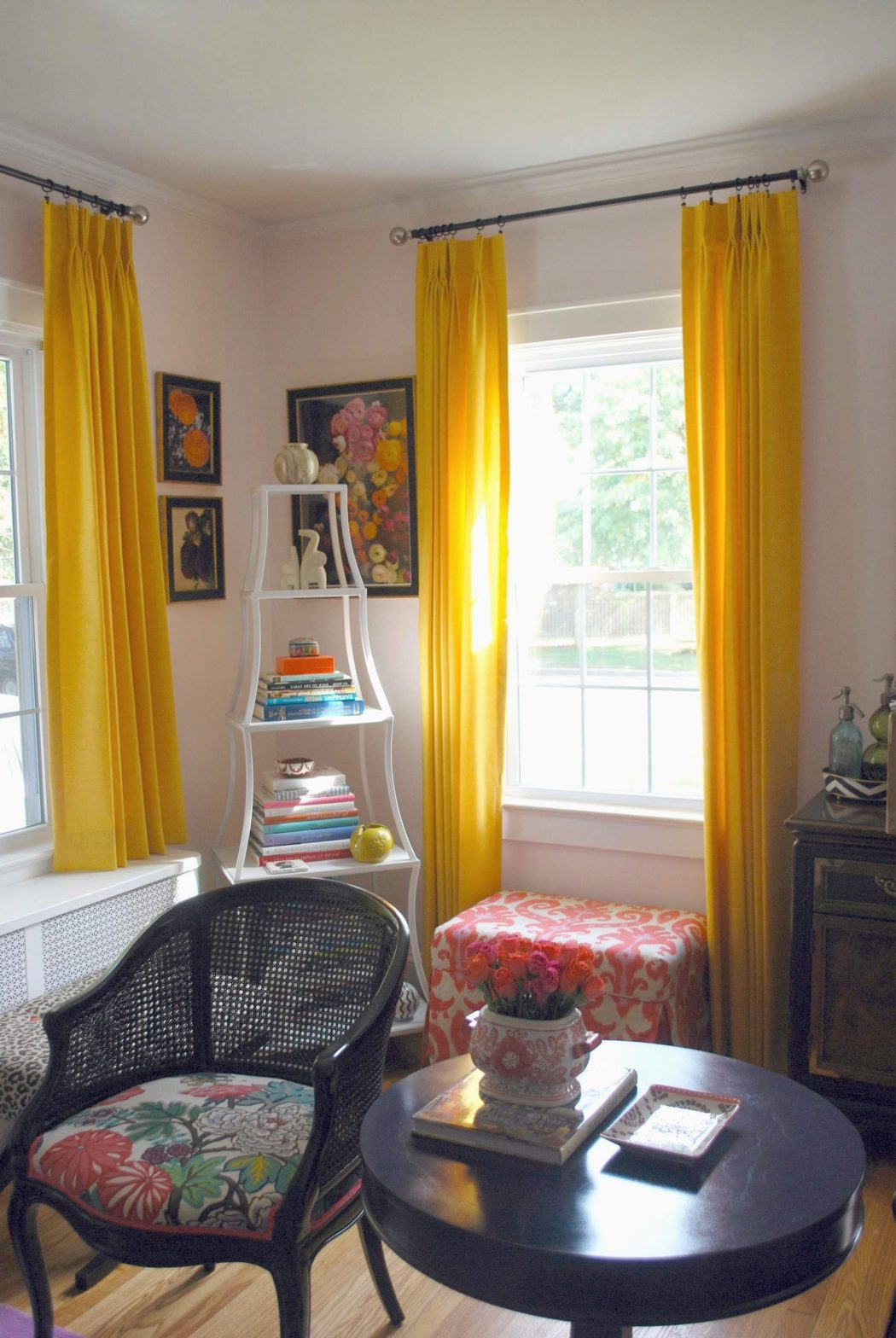 yellow-silk-drapes-living-room 20+ Hottest Curtain Designs for 2019