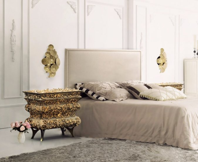 Boca-Do-Lobo-Crochet-Nightstand-golden-nightstand-bedroom-675x554 2018 Trending: 20 Bedroom Designs to Watch for in 2018