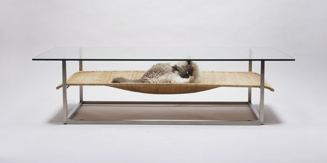 Coffee-Table-Hammock-675x337 16 Stylish Cat Furniture Pieces for Cat Lovers
