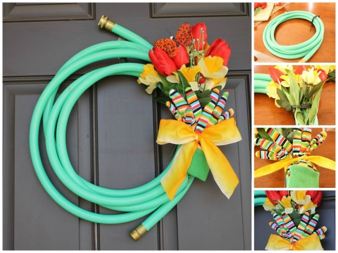 Garden-hose-wreath-675x504 7 Vibrant Front Door Decorations for Summer 2017