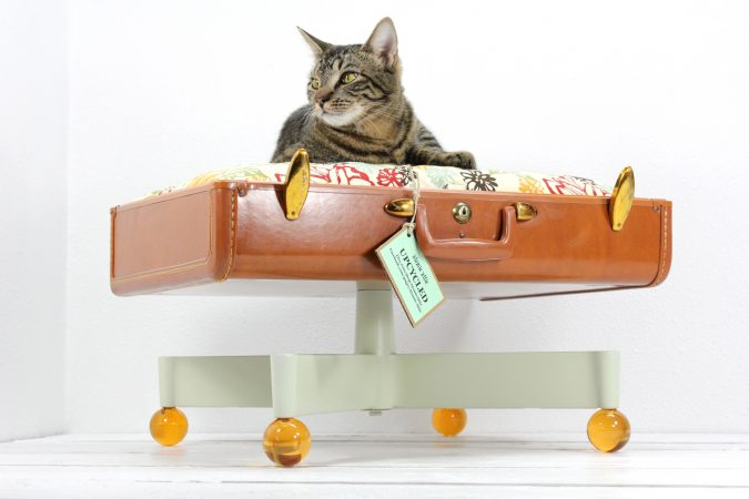 Upcycled-Suitcase-Pet-Bed-with-Pedestal-Base-675x450 16 Stylish Cat Furniture Pieces for Cat Lovers