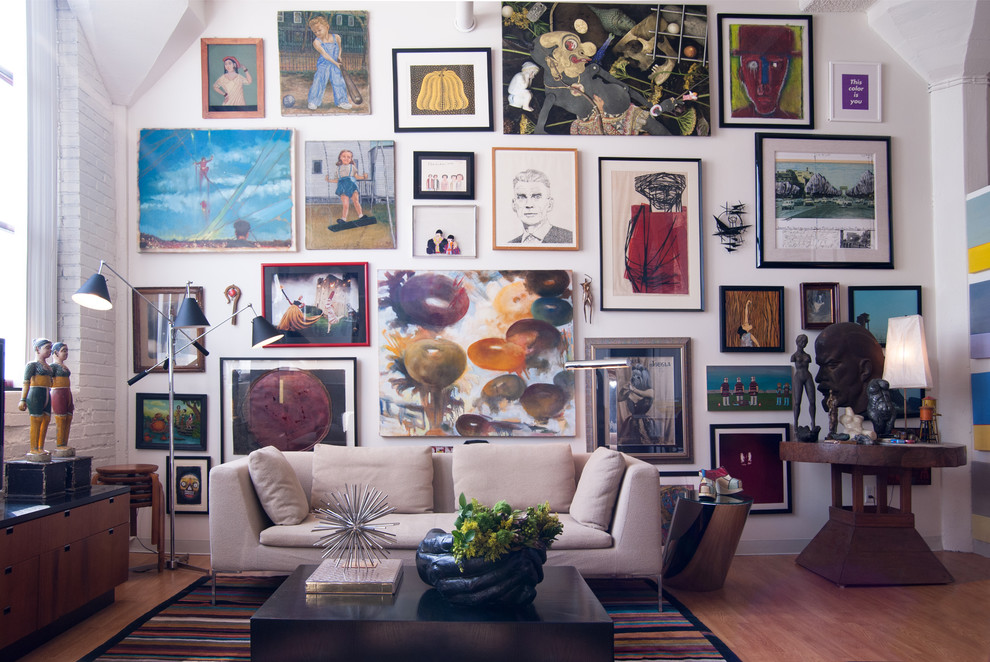 Wall-decor-collage-living-room-eclectic-with-8 5 Outdated Home Decor Trends That Are Coming Again in 2020