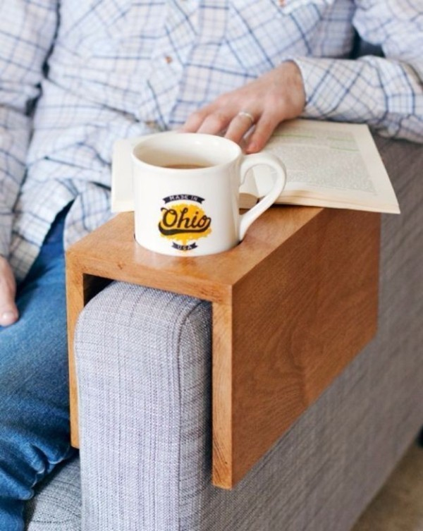Wooden-Sofa-Sleeve-with-Cup-Holder 35 Unexpected & Creative Handmade Mother's Day Gift Ideas