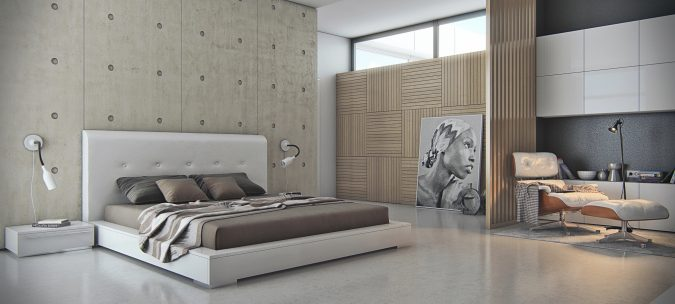 bedroom-interior-design-Concrete-Walls-675x304 2018 Trending: 20 Bedroom Designs to Watch for in 2018