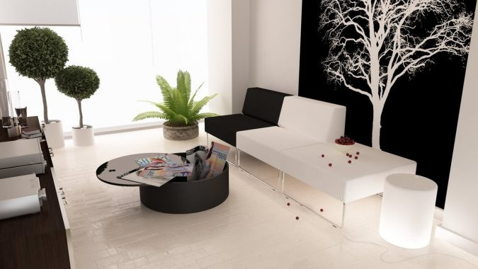 black-white-living-green-accents-1-675x380 14 Hottest Interior Designers Trends in 2018