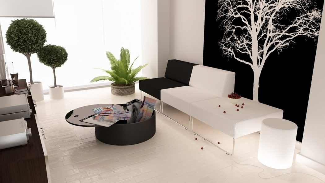 black-white-living-green-accents 5 Outdated Home Decor Trends That Are Coming Again in 2020