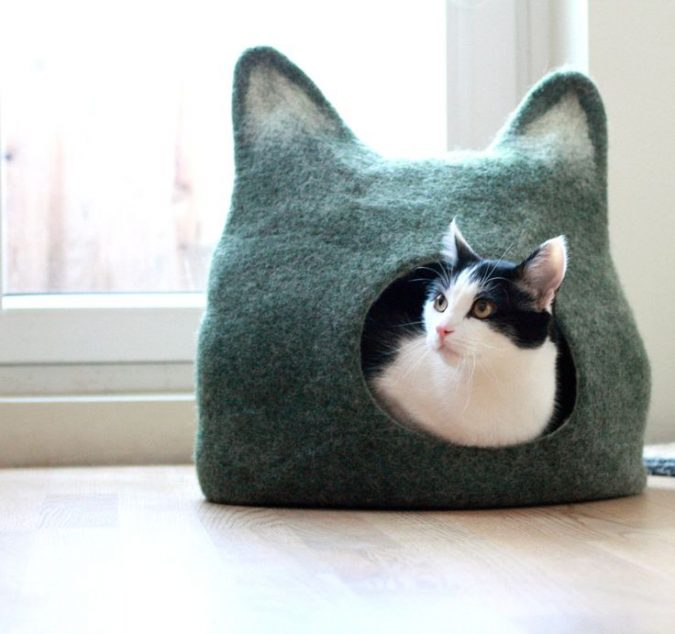 cat-cave-with-cat-ears-675x634 16 Stylish Cat Furniture Pieces for Cat Lovers