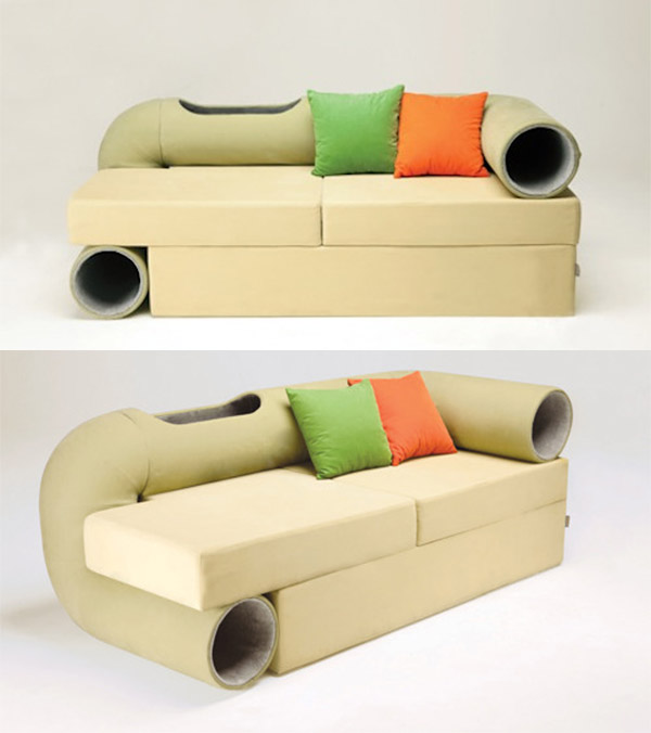 cat_tunnel_sofa_1 16 Stylish Cat Furniture Pieces for Cat Lovers