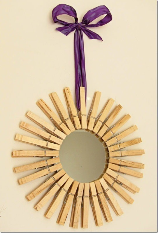 clothespin-star-burst-mirror 35 Unexpected & Creative Handmade Mother's Day Gift Ideas