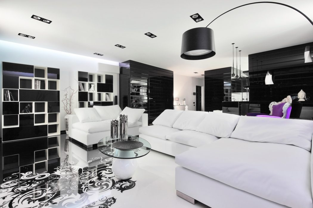 fabulous-black-and-white-interior-in-unique-flooring-and-purple-for-room-design-interior-black-interior-picture-black-and-white-interior-design 5 Outdated Home Decor Trends That Are Coming Again in 2020