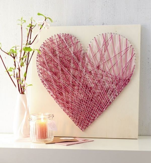 heart-string-art 35 Unexpected & Creative Handmade Mother's Day Gift Ideas
