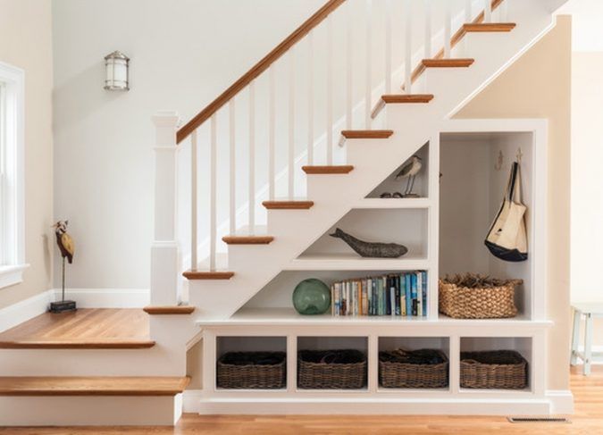 interior-design-stair-shelves-675x487 15 Interior Design Tips & Ideas for Narrow Small Spaces