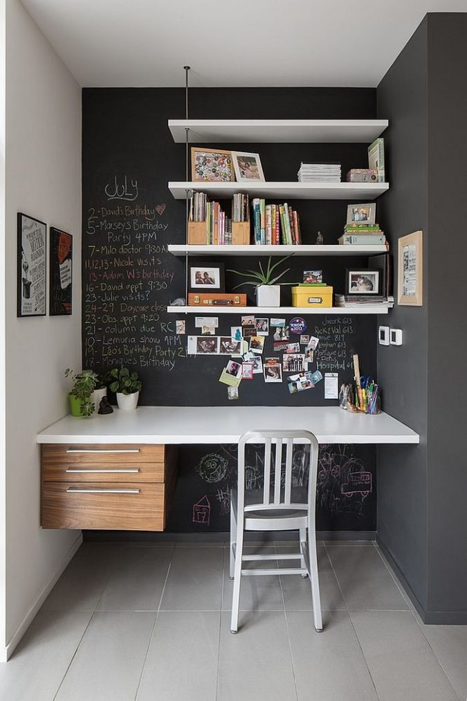 interior-design-work-nook-675x1013 15 Interior Design Tips & Ideas for Narrow Small Spaces
