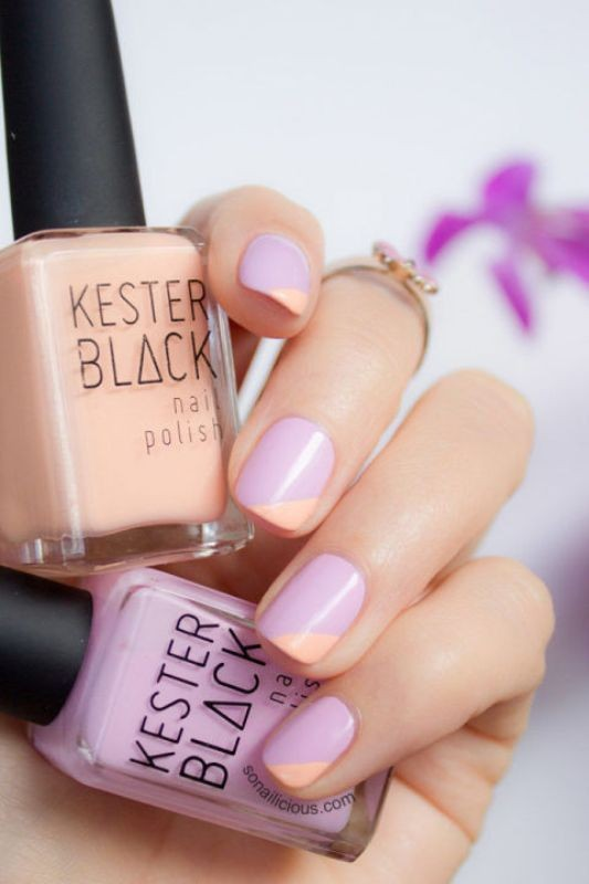 layering-two-colors-2 16+ Lovely Nail Polish Trends for Spring & Summer 2018