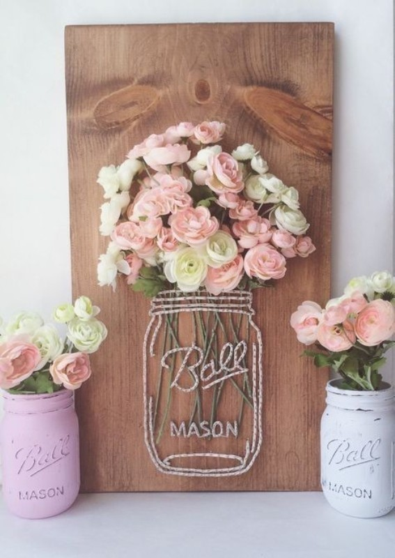 mason-jar-vase-string-art 35 Unexpected & Creative Handmade Mother's Day Gift Ideas