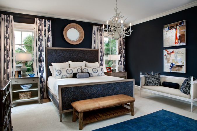 navy-blue-bedroom-home-interior-design-675x450 The 15 Newest Interior Design Ideas for Your Home in 2018