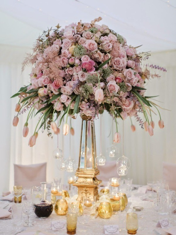 tall-wedding-centerpieces-32 11 Tips on Mixing Antique and Modern Décor Styles