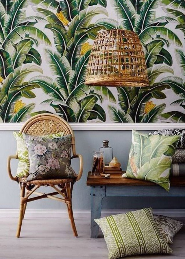 tropical-printed-wallpaper-2 The 15 Newest Interior Design Ideas for Your Home in 2018