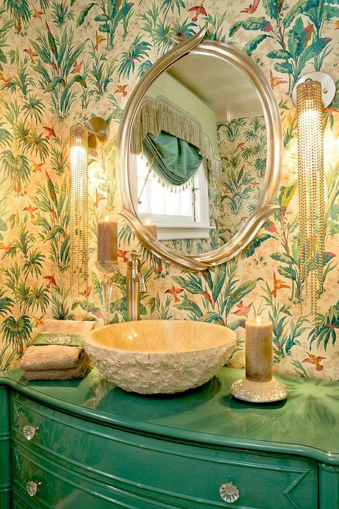 tropical-printed-wallpaper-3-675x1013 15+ Latest Interior Design Ideas for Your Home in 2020