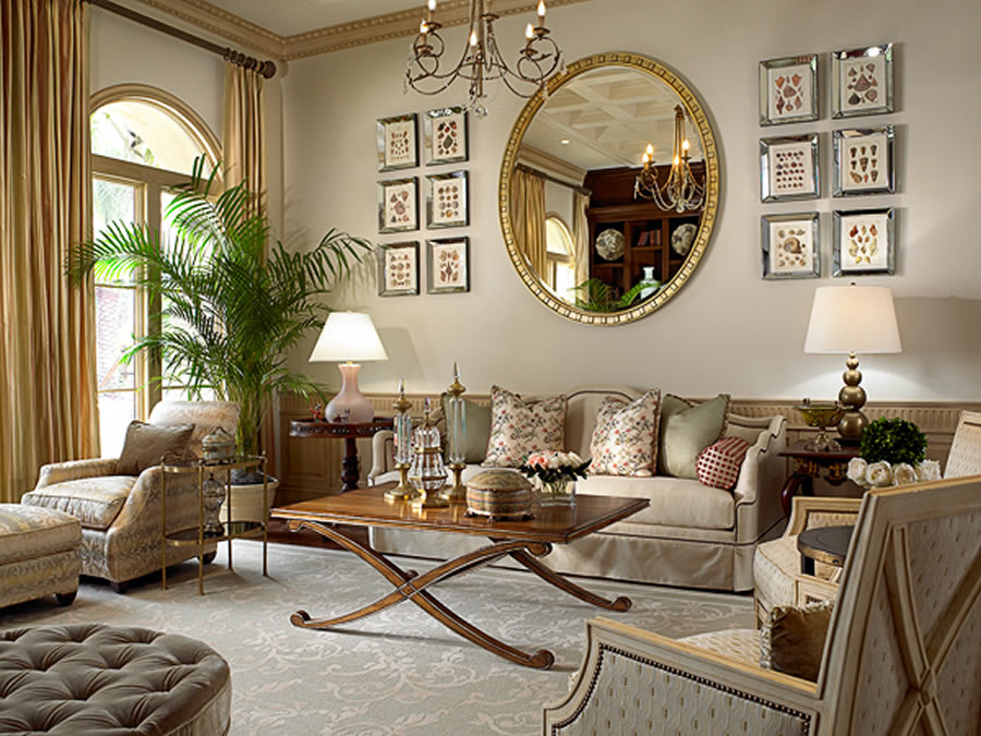 Elegant-living-room-decor-with-golden-decorative-mirror 10 Ways to Add Glam to Your Hollywood Home