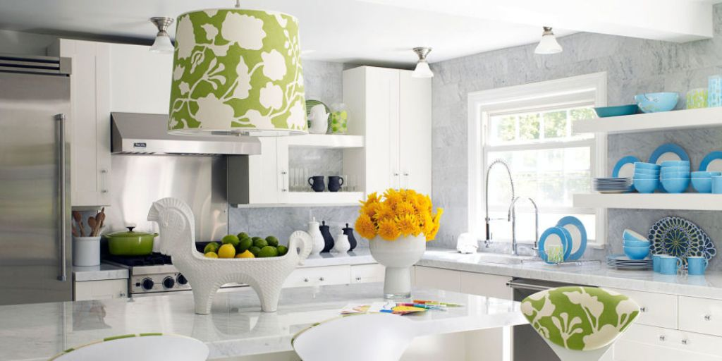 Green-Floral-Printed-Pendant-Lamp-with-White-Kitchen-Cabinet-for-Elegant-Kitchen-Ideas 6 Affordable Organizing and Decoration Ideas for your Kitchen