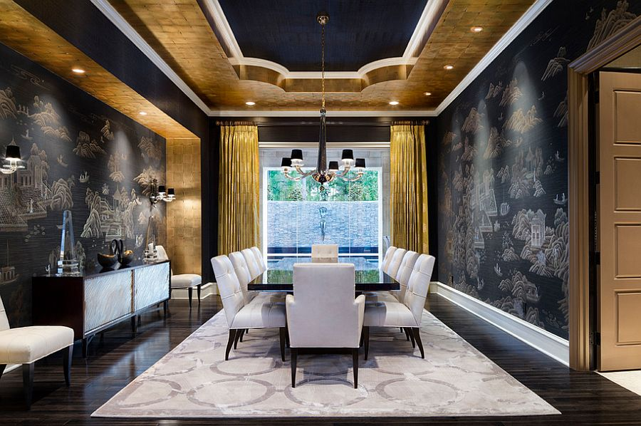 Mediterranean-dining-room-in-gold-and-black-with-modern-vibe 10 Ways to Add Glam to Your Hollywood Home