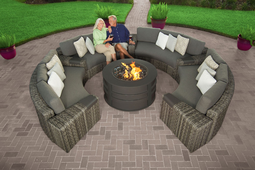 OrsayCurvedSofaSectionalSmokewithRoundFirePitHeritageGraniteCushions-TwistSmokePillowswithmodels25 8 Delightful and Affordable Fire pit Decoration Designs in 2020
