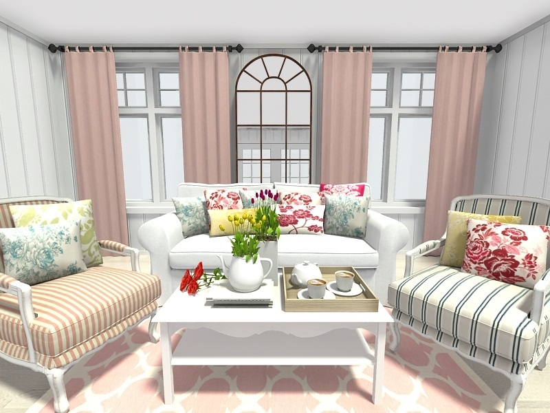 RoomSketcher-Spring-Decorating-Ideas-Living-Room-Floral-Trellis-Pattern-Home-Decor 10 Ways to Add Glam to Your Hollywood Home