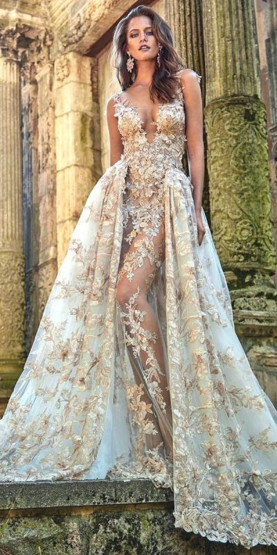 colored-wedding-dresses-2017-17 75+ Most Breathtaking Colored Wedding Dresses in 2020