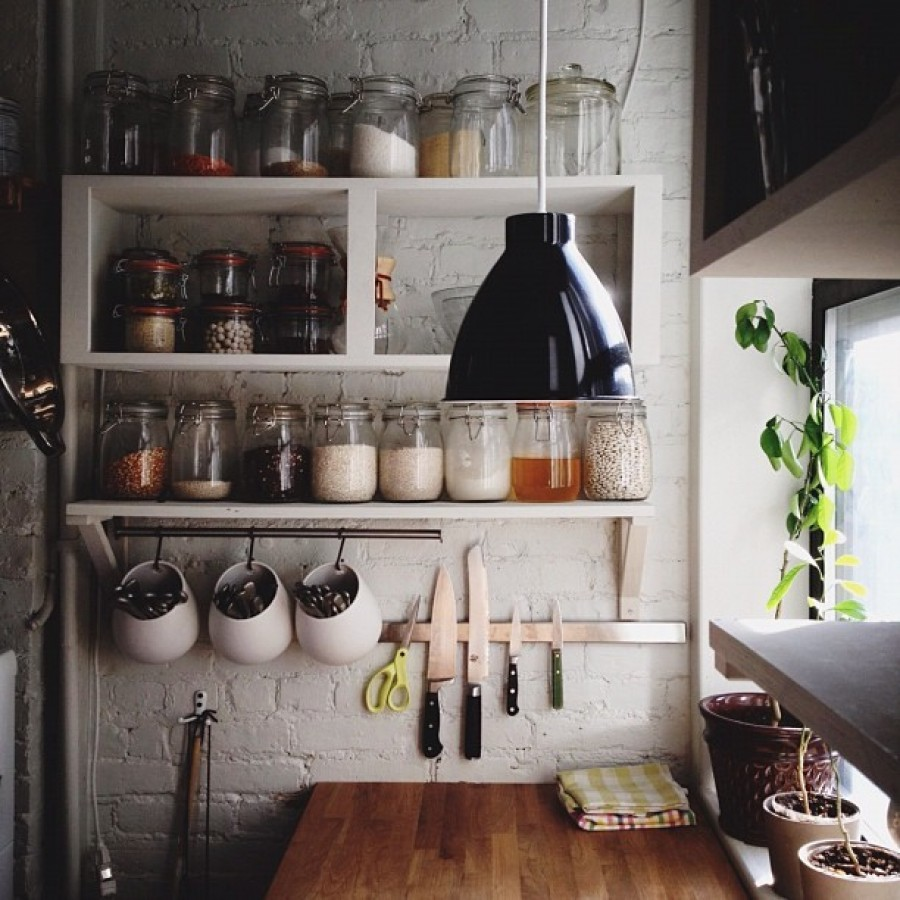 furniture-creative-diy-wood-wall-mounted-kitchen-shelving-units-with-hooks-painted-with-white-color-for-narrow-kitchen-spaces-with-hanging-lamp-for-ceiling-ideas-kitchen-shelving-units 6 Affordable Organizing and Decoration Ideas for your Kitchen