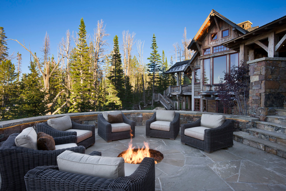 inground-fire-pit-Patio-Rustic-with-cabin-circular-curved-Exterior Delightful and Affordable Fire pit Decoration Designs in 2017