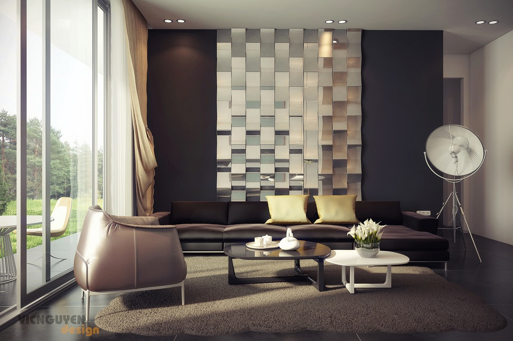 rich-palette-living-with-mirrored-feature-wall 10 Ways to Add Glam to Your Hollywood Home