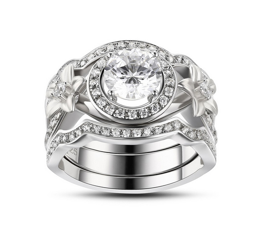 Round-Cut-Flowers-White-Sapphire-Sterling-Silver-Womens-Engagement-Ring-500322 Lajerrio Disclose Top 10 Elegant Jewelry Trends to Go for in 2018