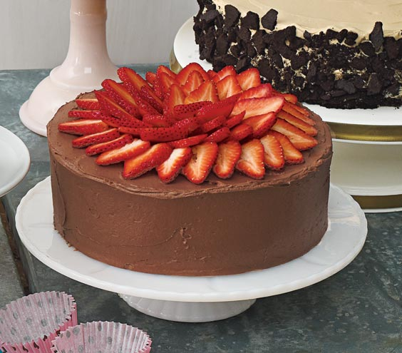 Yellow-Cake-With-Fresh-Strawberry-Filling-Chocolate-Sour-Cream-Frosting-and-Strawberries 25 Romantic Chocolate Treats for the Valentine's Day