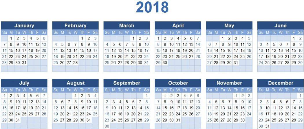 2018-calendars 87+ Fascinating 2018 Printable Calendar Templates