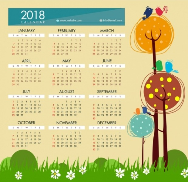2018-printable-calendars-100 87+ Fascinating Printable Calendar Templates