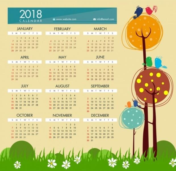 2018-printable-calendars-100 87+ Fascinating Printable Calendar Templates