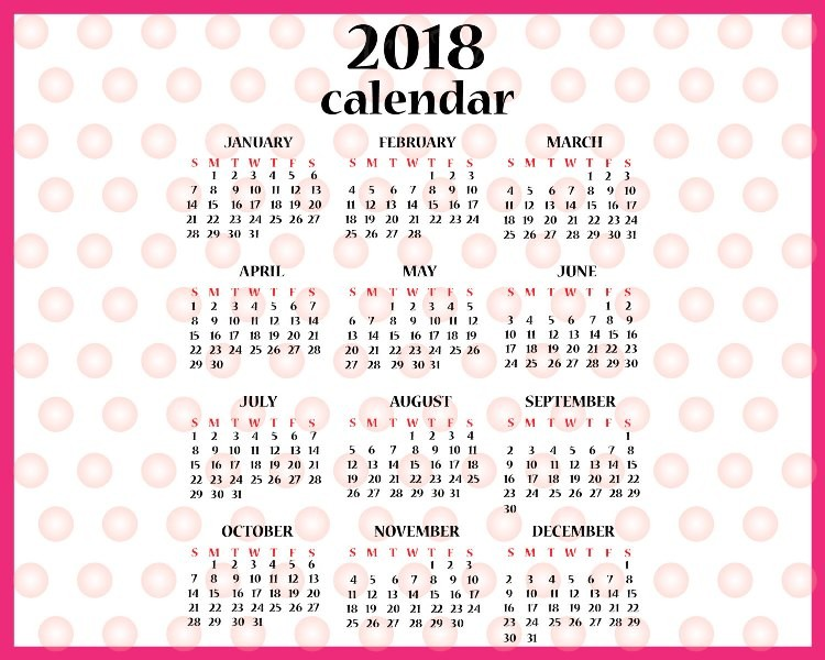 2018-printable-calendars-109 87+ Fascinating Printable Calendar Templates