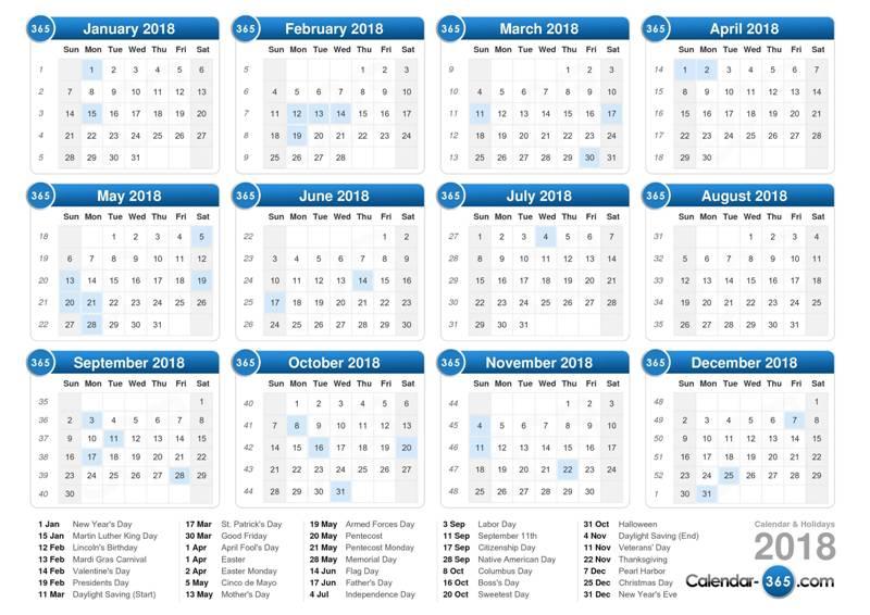 2018-printable-calendars-119 87+ Fascinating 2018 Printable Calendar Templates