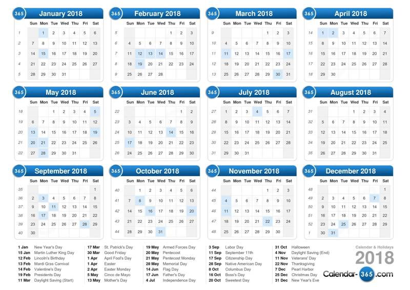 2018-printable-calendars-119 87+ Fascinating Printable Calendar Templates
