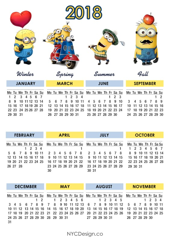 2018-printable-calendars-29 87+ Fascinating Printable Calendar Templates