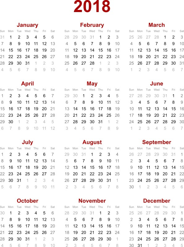 2018-printable-calendars-35 87+ Fascinating Printable Calendar Templates